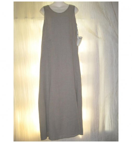 NWT FLAX Long Shapely Oatmeal Linen Slip Dress Jeanne Engalhart Small S