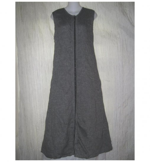 FLAX by Jeanne Engelhart Shapely Black Waves Linen Snappy Dress Large L