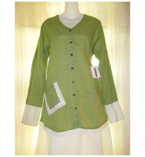 NWT Solitaire FLAX Green Linen Button Shirt Tunic Top Large L