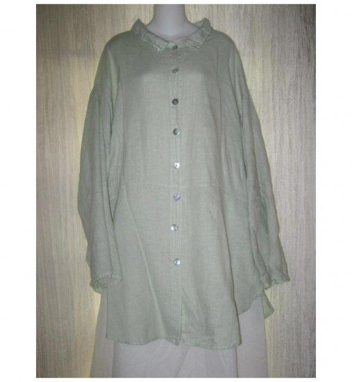 Jeanne Engelhart FLAX Green Linen Skirted Button Tunic Top Shirt Generous