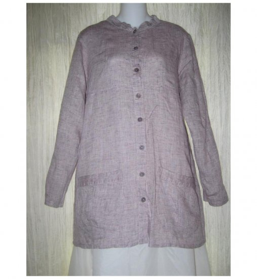 FLAX Purple Linen Skirted Button Tunic Top Shirt Jeanne Engelhart Small S