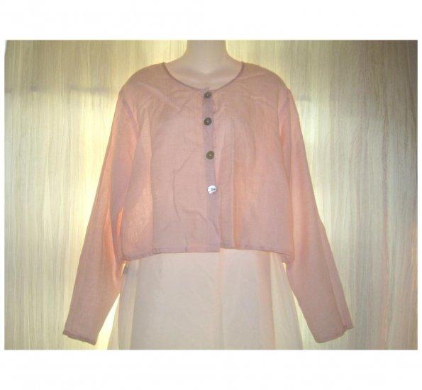 FLAX Pink Cropped Linen Button Shirt Top Jeanne Engelhart Small S
