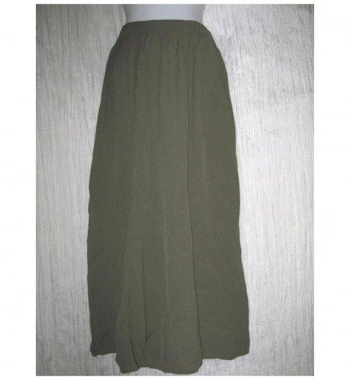 FLAX Long Green Rayon Skirt Jeanne Engelhart Small S