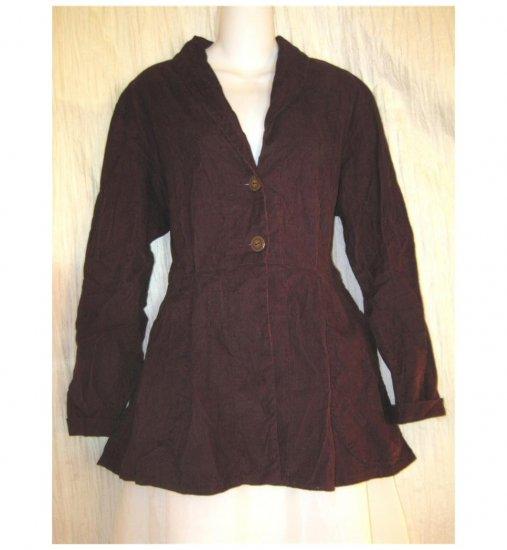 FLAX Shapely Plum Corduroy Peplum Jacket Jeanne Engelhart Small S