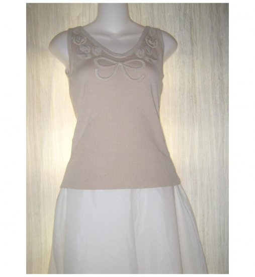 NWT Cache Soft Beige Knit Rosette Sweater Tank Top Small S
