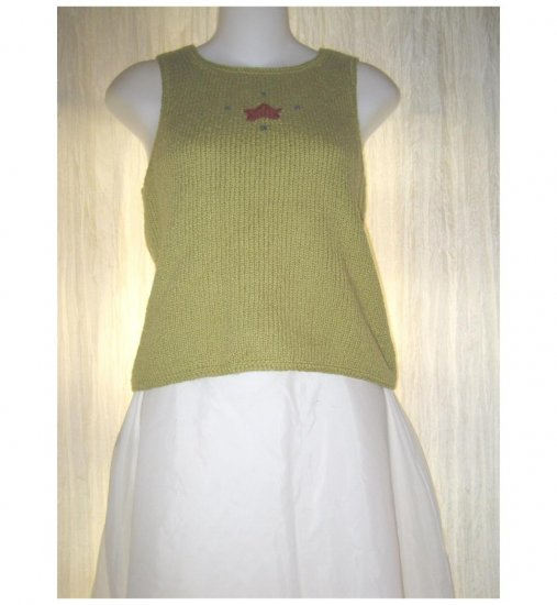 Planet Earth Imports Green Cotton Sweater Tank Top Small S
