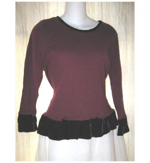 KLEEN Boutique Burgundy Velvet Trim Ruffled Sweater X-Large XL