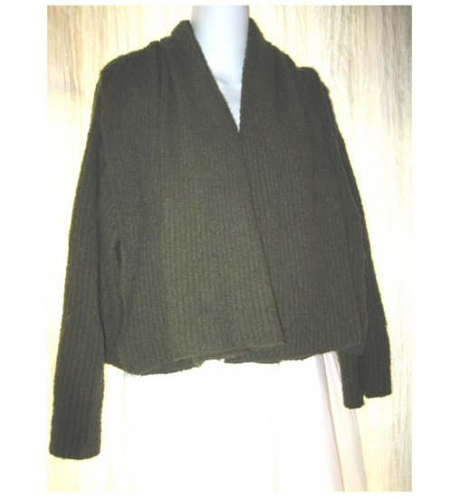 SAGA Cropped Green Lagenlook Cardigan Sweater Small Medium S M