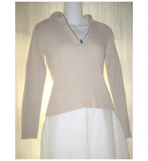 Ralph Lauren Cream Cotton Zip Top Pullover Sweater Small S