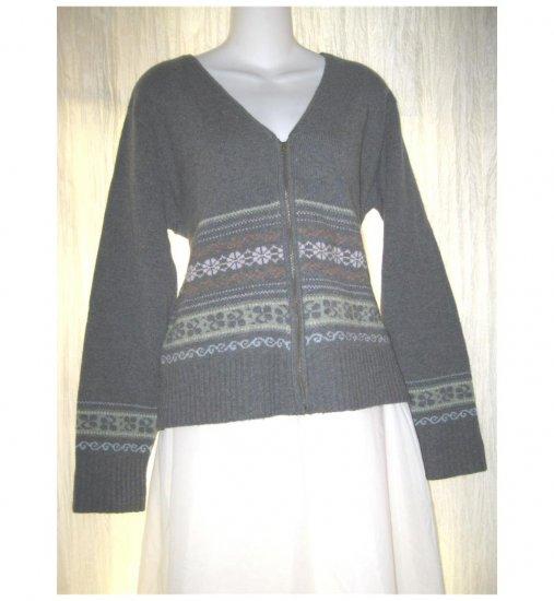 Laura Ashley Blue Gray Lambswool Zip Cardigan Sweater Large L