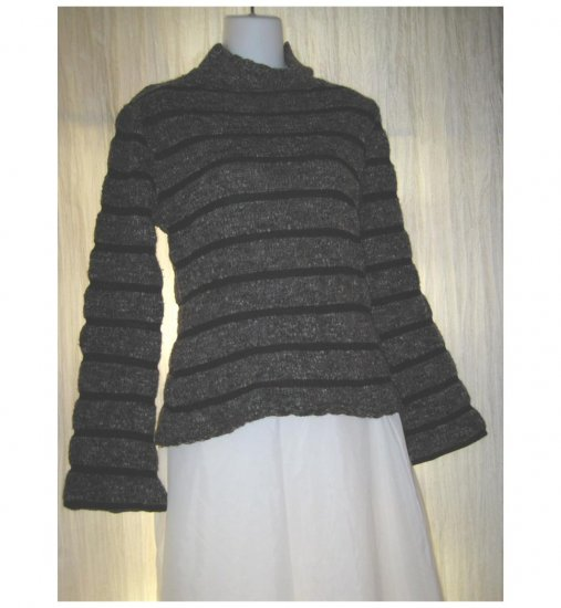 BASIK German Boutique Striped Wool Pullover Sweater Medium M