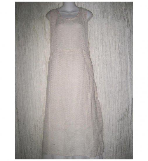 Angelheart Designs by Jeanne Engelhart Long Textured Cream Linen Dress Large L
