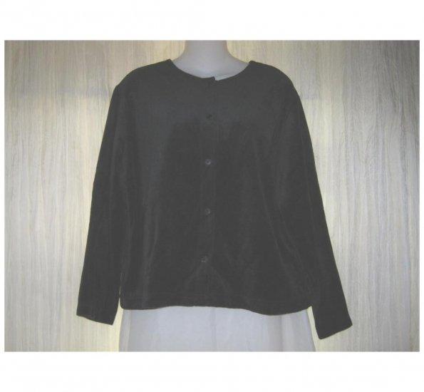 Basic Threads Soft Black Velor Button Jacket Shirt Top Large L