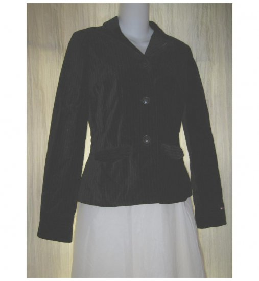 Tommy Hilfiger Jeans Shapely Black Cotton Velvet Button Jacket Blazer Small Petite SP