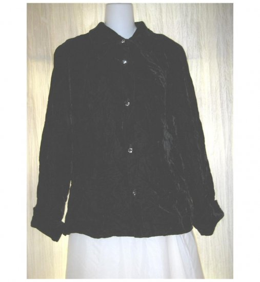 Vintage Elinor Gay Shapely Black Velvet Button Shirt Top S M