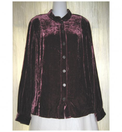 J. Jill Soft Shapely Burgundy Silk Velvet Button Shirt Tunic Top X-Small XS