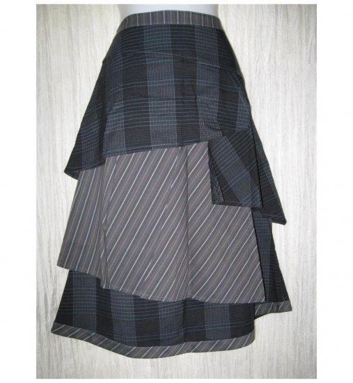 New Neesh by D.A.R. Long Shapely Plaid Stripe ZigZag Ruffle Skirt Medium M