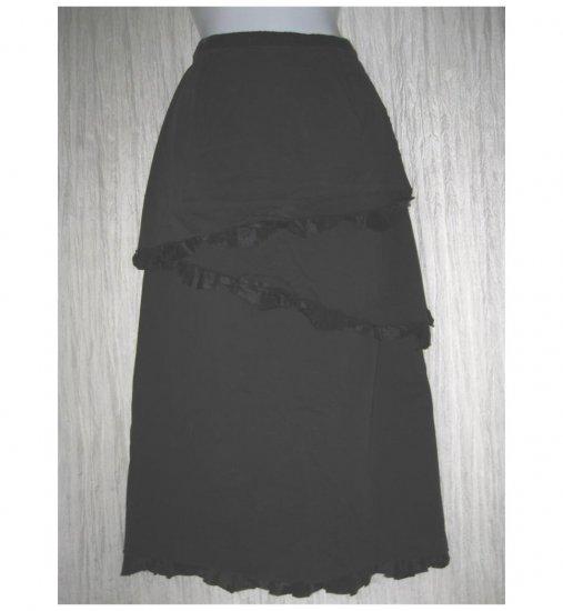 Neesh by D.A.R. Long Black Shapely ZigZag Ruffle Skirt Medium M