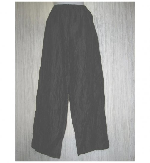 CITRON Santa Monico Boutique Black Linen Lagenlook Pants 1X