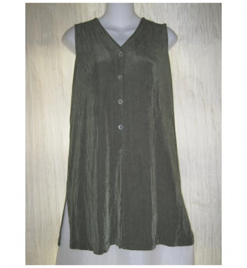 Citiknits Slinky Green Button Tunic Top Shirt Vest X-Small XS