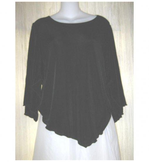 Citiknits Slinky Black Traveler Knit Tunic Top Shirt Medium M