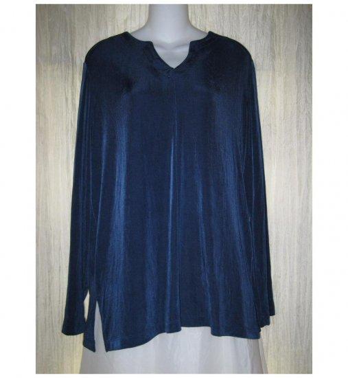 Citiknits Slinky Jewel Blue Traveler Tunic Top Shirt Large L