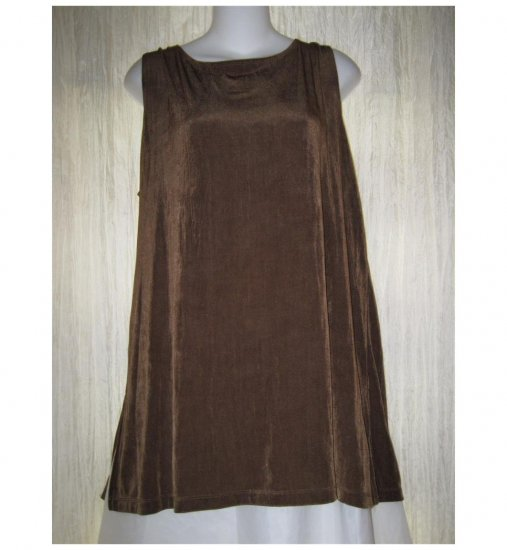Citiknits Slinky Brown Green Tunic Top Tank Shirt Large L