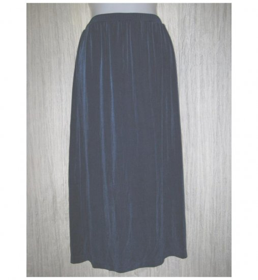 Citiknits Long Loose Slinky Jewel Blue Traveler Knit Skirt Large L