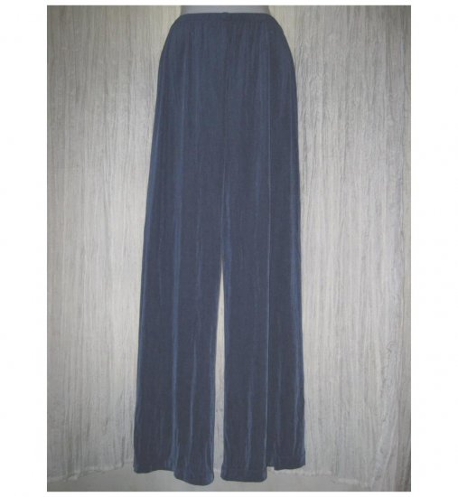 CHICO'S Travelers Long Loose Slinky Blue Knit Pants 1 Reg