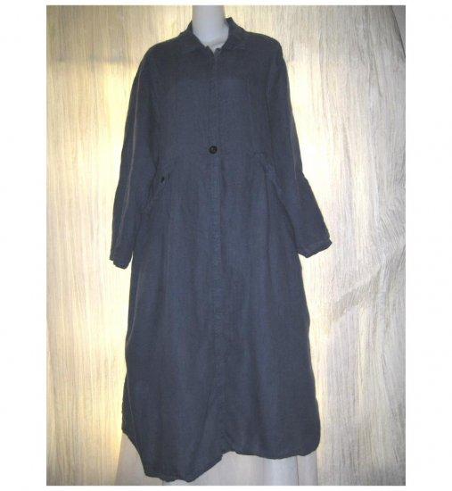 FLAX by Jeanne Engelhart Long Blue Linen Snappy Belted Duster Dress Jacket Medium M