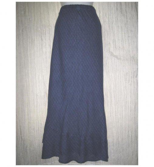 FLAX Jeanne Engelhart Long Blue Shapely Layered Hem Skirt Medium M