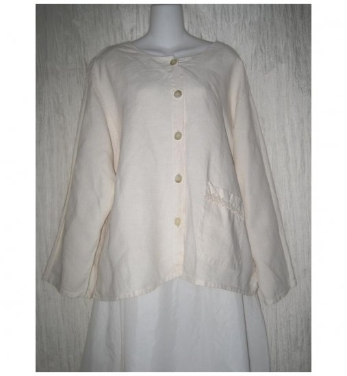 Jackie Loves John Cream Linen Boxy Button Jacket Top Large L