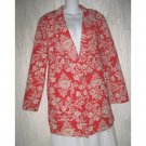 C.D. Daniels Red Floral Linen Button Jacket Blazer 1X