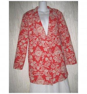 C.D. Daniels Red Floral Linen Button Jacket Blazer 1X