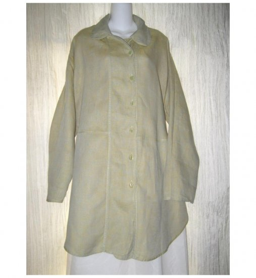 Jeanne Engelhart FLAX Blue Green Linen Skirted Button Tunic Top Shirt Large L