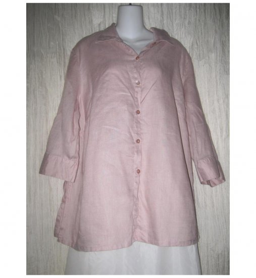 Carole Little Pink Linen Button Tunic Top Shirt 2X