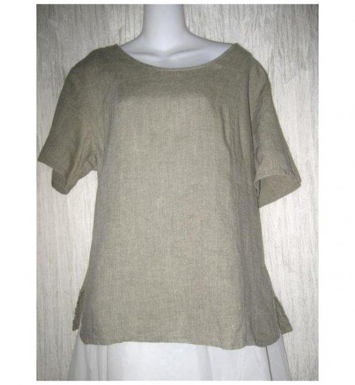 FLAX Jeanne Engelhart Shapely Linen Pullover Shirt Tunic Top Medium M