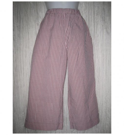 FLAX Pink Stripe Textured Cotton Floods Pants Jeanne Engelhart Petite P