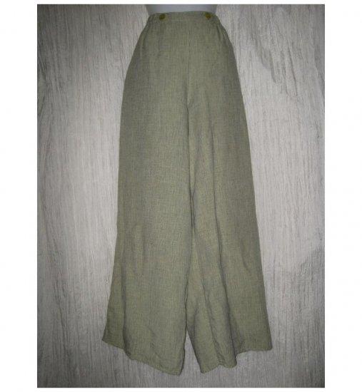 FLAX by Jeanne Engelhart Green LINEN Sailoring Pants Wide Leg Floods Large L