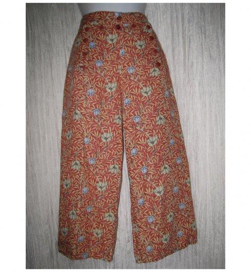FLAX Orange Floral LINEN Sailor Pants Wide Leg Floods Small S