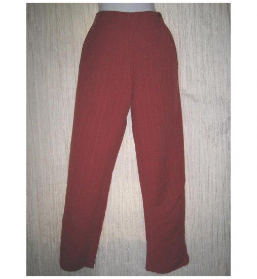 Jeanne Engelhart FLAX Red LINEN Cotton Pants Petite P