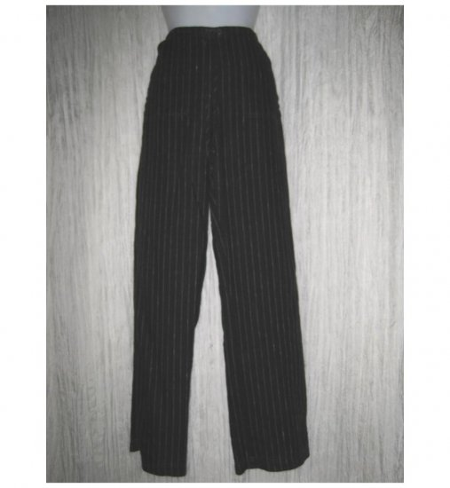 Solitaire Long Loose Black Striped Linen Drawstring Pants Small S