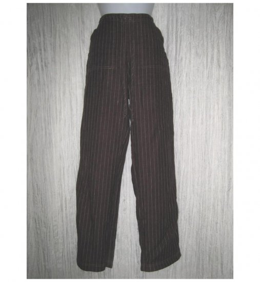 Solitaire Long Loose Brown Striped Linen Drawstring Pants Small S