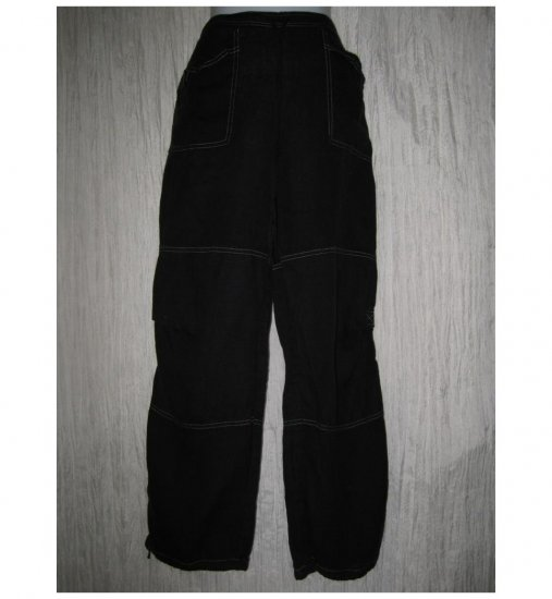 Solitaire Long Loose Black Linen Drawstring Pants Small S