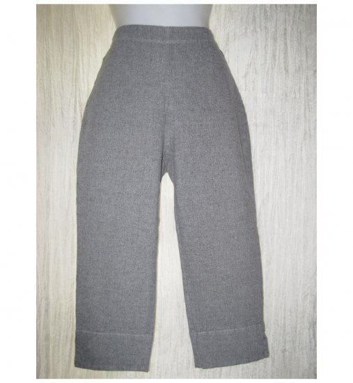 Jeanne Engelhart FLAX Gray Cotton Pedal Pushers Leggings Pants Small S