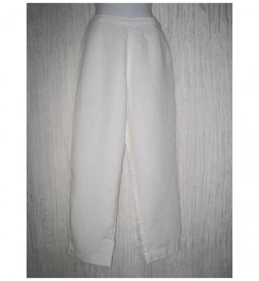 Jeanne Engelhart FLAX Long White LINEN Pants Small S