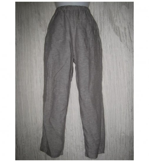 FLAX by Jeanne Engelhart Long Gray Linen Pants Petite P