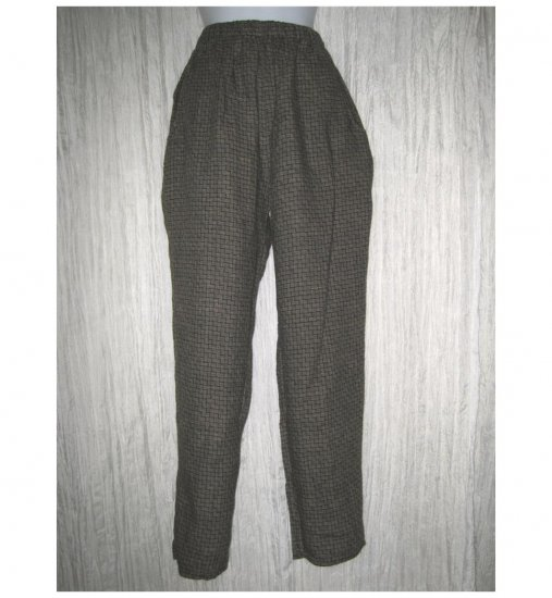 FLAX by Jeanne Engelhart Long Tan Basket Weave Linen Pants Petite P