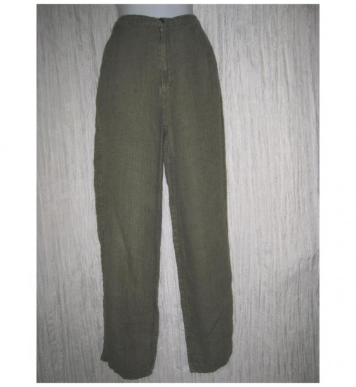 Jeanne Engelhart FLAX Long & Lean Green Bark Clothe Linen Trousers Pants Petite P