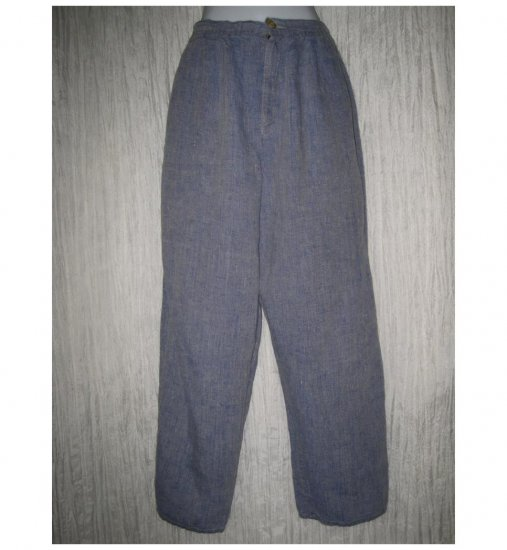 FLAX by Angelheart Long & Lean Blue Linen Trousers Pants Small S